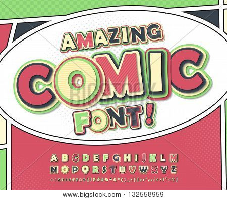 Amazing colorful high detail comic font on comic book page. Alphabet in style of comics, pop art. Multilayer funny letters, figures for decoration of kids' illustrations, posters, comics, banners