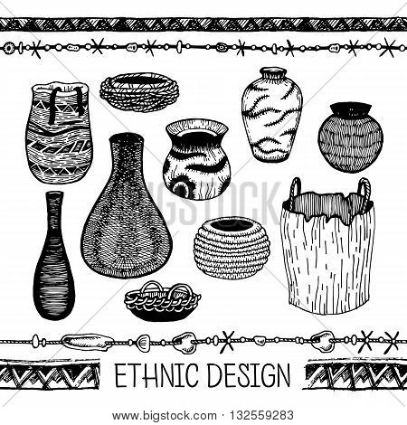 Vector illustration. Set of doodle tribal Ware.