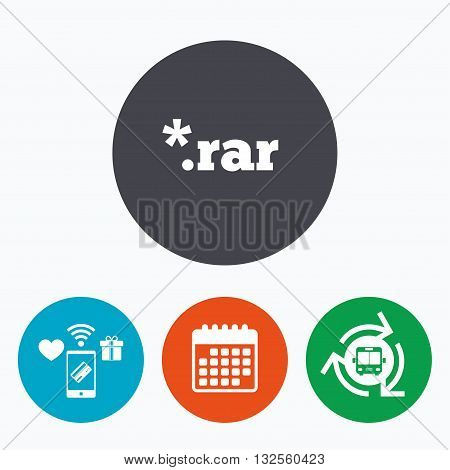 Archive file icon. Download compressed file button. RAR zipped file extension symbol. Mobile payments, calendar and wifi icons. Bus shuttle.