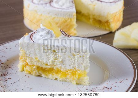 Pineapple Cake With Wipped Cream