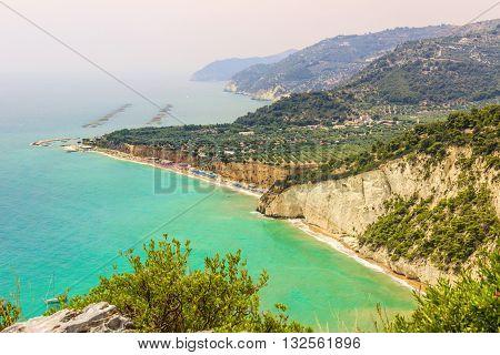 Gargano coast: Mattinatella or Fontana delle Rose beach.MATTINATA (Apulia), - ITALY-