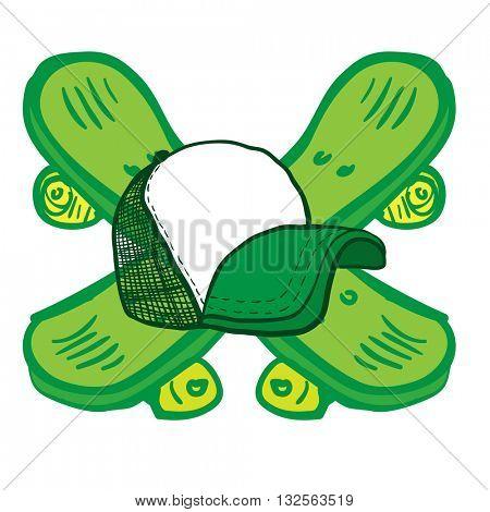 crossed skateboards and trucker cap cartoon crest