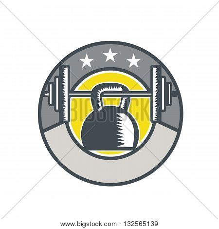 Illustration of a kettlebell hanging on a barbell set inside circle with stars done in retro style.
