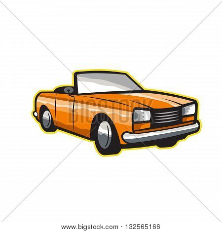 Illustration of a vintage car with top-down roof viewed from front set on isolated white background done in retro style.