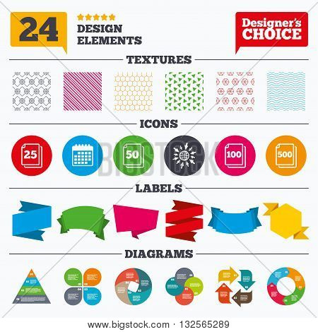 Banner tags, stickers and chart graph. In pack sheets icons. Quantity per package symbols. 25, 50, 100 and 500 paper units in the pack signs. Linear patterns and textures.