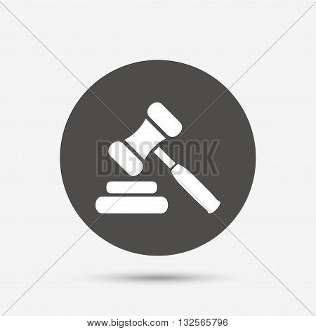 Auction hammer icon. Law judge gavel symbol. Gray circle button with icon. Vector