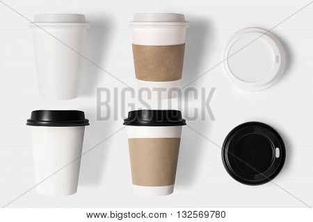 Design Concept Of Mockup Coffee Cup Set And Lid Set On White Background. Copy Space For Text And Log