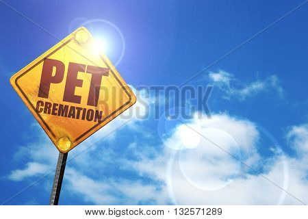 pet cremation, 3D rendering, glowing yellow traffic sign