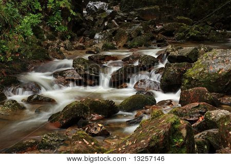 Scottish Stream Running Over Rocks