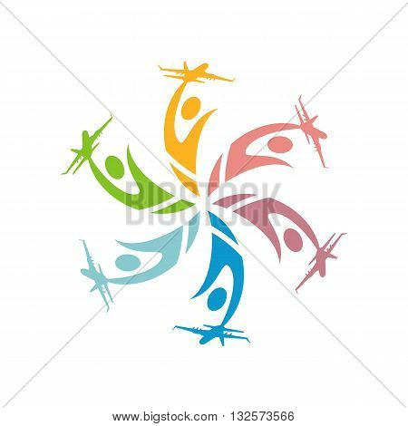 airplane people human holiday spin vector symbol