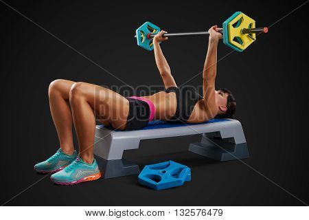 Fitness Woman Workout With Barbell
