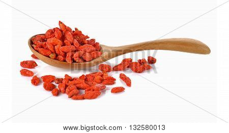 Goji berry or Chinese wolfberry in wooden spoon on white background
