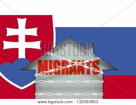 Image relative to migration to European Union. Barbed wire closed home icon textured by Slovakia flag. 3D rendering