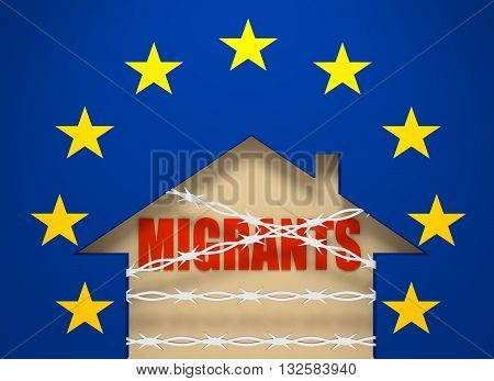 Image relative to migration to European Union. Barbed wire closed home icon textured by European Union flag. 3D rendering