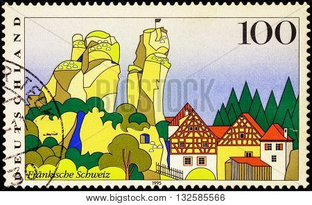 MOSCOW RUSSIA - JUNe 02 2016: A stamp printed in Germany shows French Switzerland series