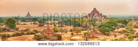 View from the Shwesandaw in Bagan. Myanmar. Panorama