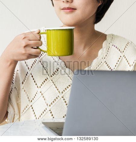 Girl Beverage Drinking Chilling Dehydrate Thirsty Concept