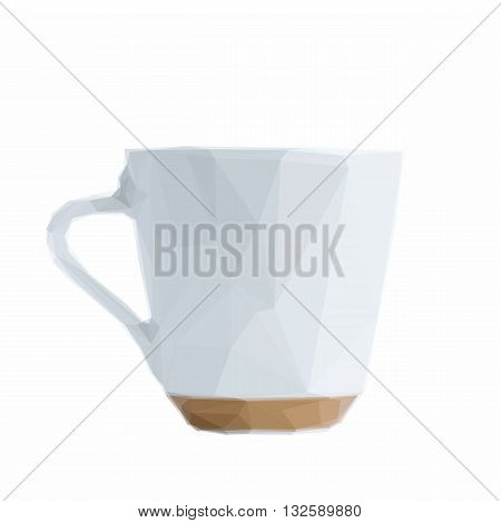 Low poly illustration white coffee cup on white background