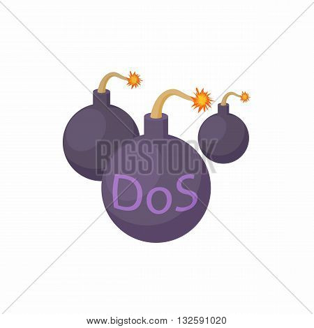 DOS and bombs with smoldering wick icon in cartoon style on a white background