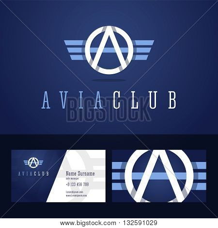 Avia club logo and business card template. Line style with overlapping effect. Vector illustration in flat style.
