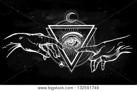 God and Adams hands. Creation of Adam. with all seeing divine eye. Hope faith and help, assistance and support in religion. Isolated vector illustration. Tattoo design, spiritual symbol for your use.