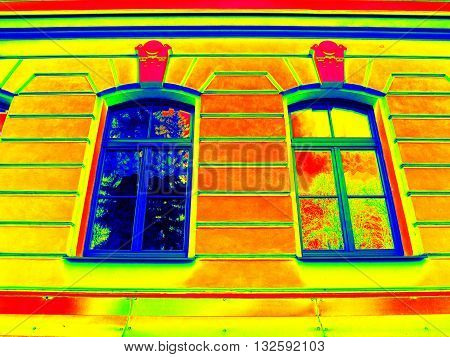 Thermography Scan. Traditional Construction Of Bricks House With Old Style Windows. Thermal Waste
