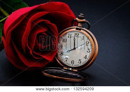 Red rose and vintage pocket wath on black background.
