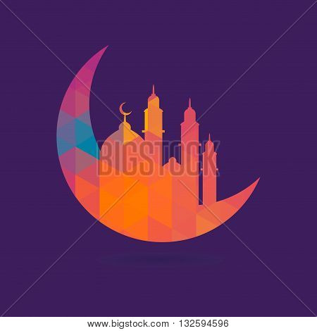 Vector stock of crescent moon with mosque geometric pattern islamic background