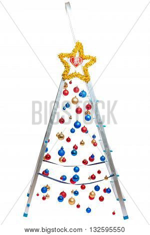 Creative Christmas tree - stepladder with hanging balls isolated