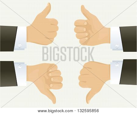 Businessman hand showing okay sign - vector illustration