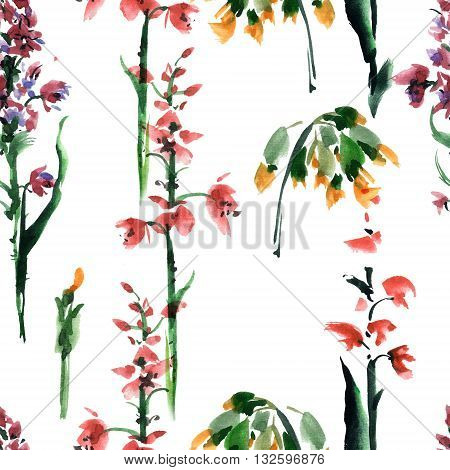 Flowers. Watercolor and ink painting. Seamless pattern.