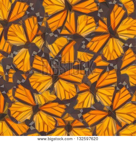Low poly illustration Orange monarch butterfly close up natural background