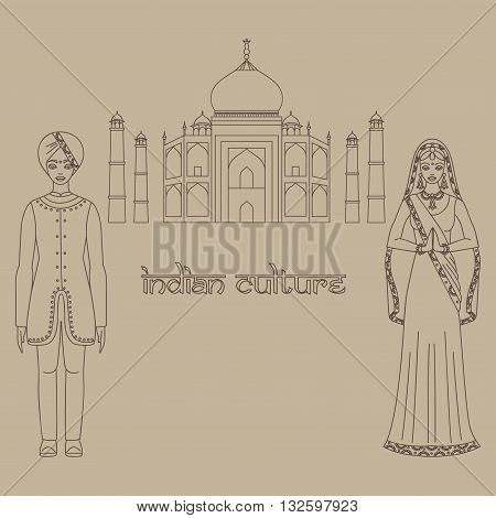 Taj Mahal Temple Landmark in Agra, India. Indian white marble mausoleum, indian architecture and South Asia beautiful woman and man wearing indian traditional cloth, hinduism costume outline