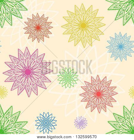 geometric chrysanthemums seamless pattern, multicolor vector ornament