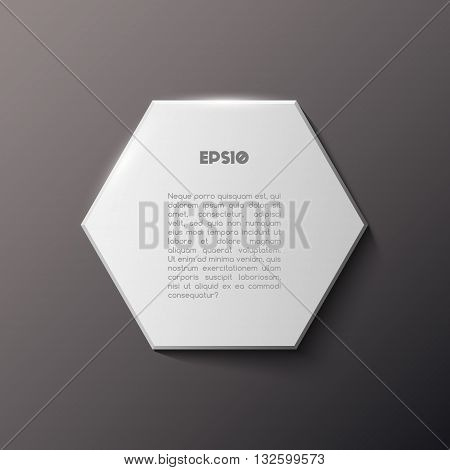 Paper square hexagon banner with shadow, black background, white polygonal banner