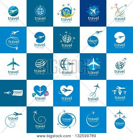 Vector logo template plane flight. Illustration journey