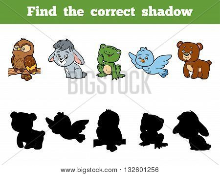 Find The Correct Shadow For Children. Animal Collection