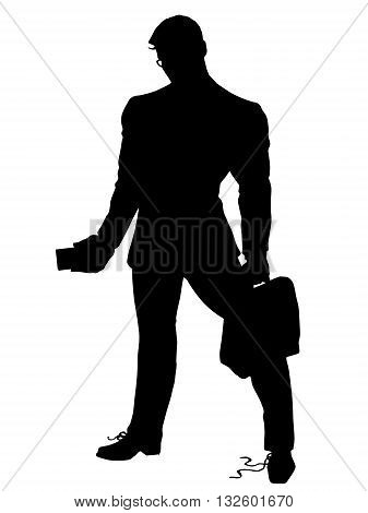 A strong leader businessman untied shoelaces pop art retro vector. Black silhouette. Conceptual business vector. Figure form icon.