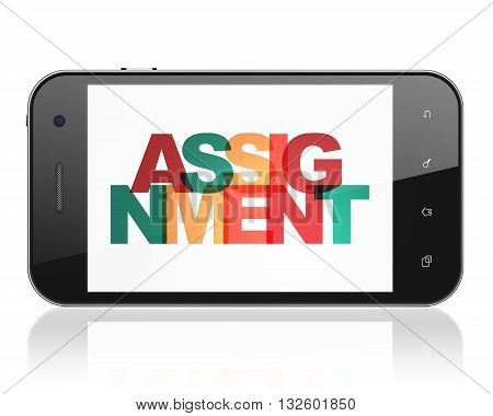 Law concept: Smartphone with Painted multicolor text Assignment on display, 3D rendering