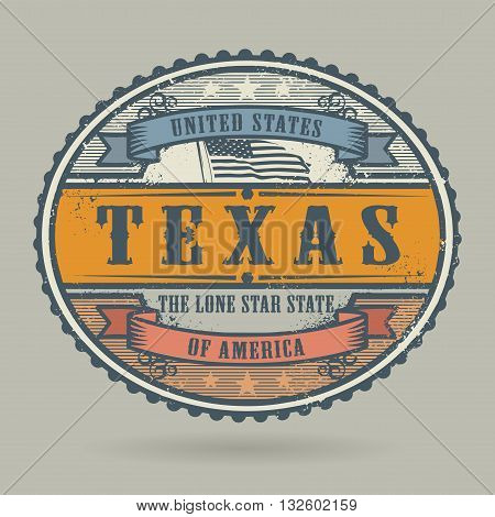 Vintage stamp or label with the text United States of America, Texas, vector illustration