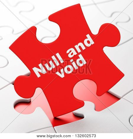 Law concept: Null And Void on Red puzzle pieces background, 3D rendering