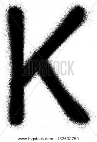 sprayed K font graffiti in black over white