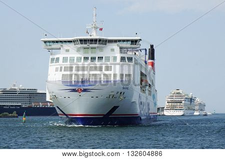 Rostock, Germany - May 30th, 2016: Stena Line ferry ship Skane crossing the baltic sea from Rostock Warnemunde in Germany to Trelleborg in Sweden in just 6 hours.
