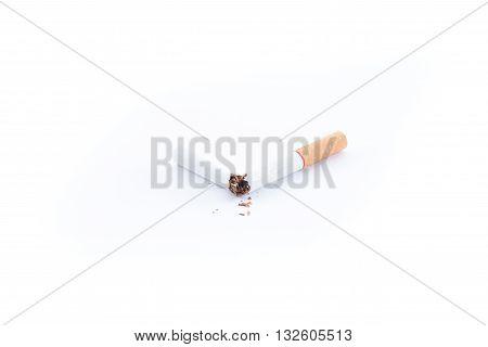 World No Tobacco Daybroken cigarette on a white background