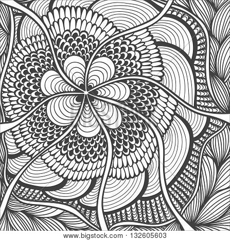 Background   with Zen-doodle flowers or  Zen-tangle  pattern black on white for coloring page or relax coloring book or wallpaper or for decorate package clothes