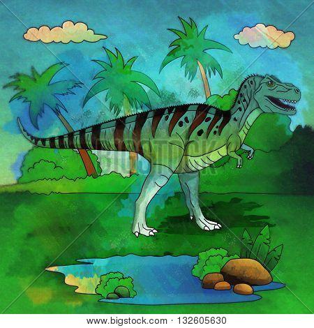 Allosaurus. Illustration of a dinosaur in its habitat.
