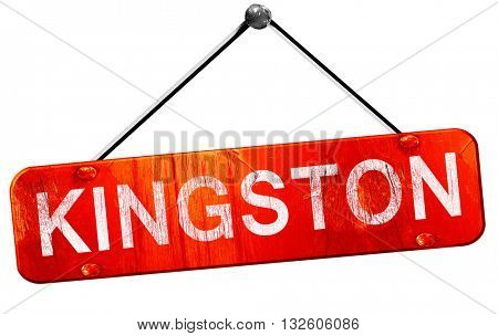 kingston, 3D rendering, a red hanging sign