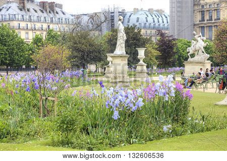 PARIS FRANCE - April 30.2014: Tuileries Gardens. Part of the palace and park complex in the historic center of the city Paris