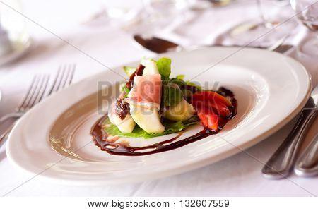 A crisp parma ham and melon salad
