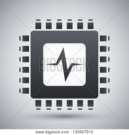 Vector CPU or Processor test icon. CPU or Processor test simple icon on a light gray background